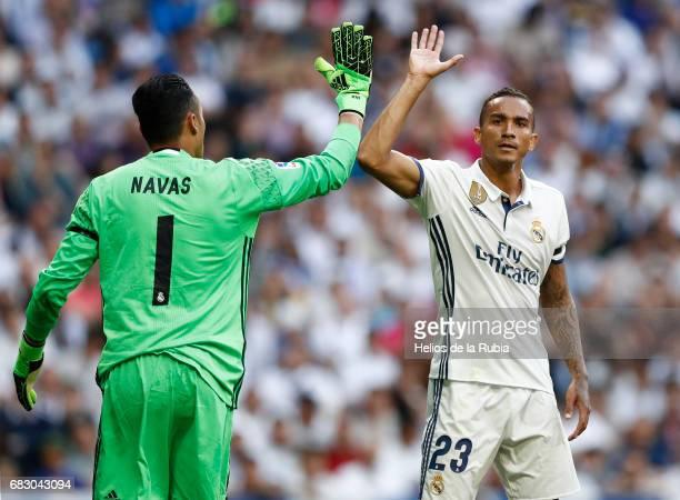 GoalKeeper Keylor Navas and Danilo of Real Madrid celebrate after scoring during the La Liga match between Real Madrid and Sevilla FC at Estadio...