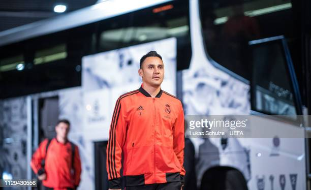 Goalkeeper Keylor Navas of Madrid arrives prior to the UEFA Champions League Round of 16 First Leg match between Ajax and Real Madrid at Johan Cruyff...