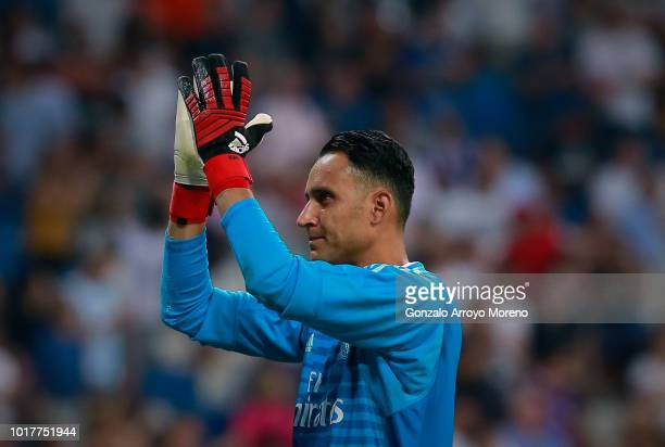 Goalkeeper Keylor Navas of Real Madrid CF reacts during the Santiago Bernabeu Trophy between Real Madrid CF and AC Milan at Estadio Santiago Bernabeu...