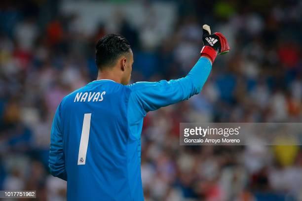 Goalkeeper Keylor Navas of Real Madrid CF reacts during the Santiago Bernabeu Trophy between Real Madrid CF and AC Milan at Estadio Santiago Bernabeu...