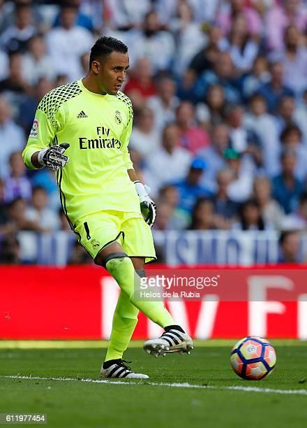 Goalkeeper Keylor Navas of Real Madrid in action during the La Liga match between Real Madrid CF and SD Eibar at Estadio Santiago Bernabeu on October...