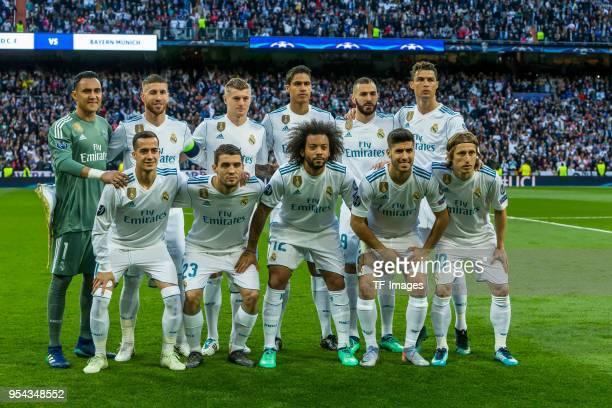 Goalkeeper Keylor Navas of Real Madrid Sergio Ramos of Real Madrid Toni Kroos of Real Madrid Raphael Varane of Real Madrid Karim Benzema of Real...
