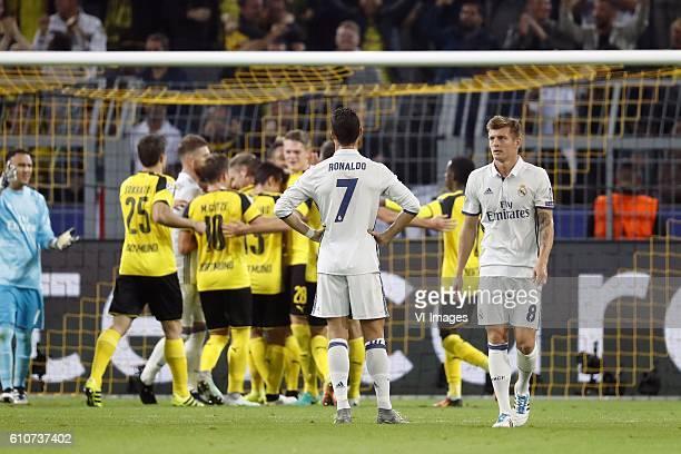 goalkeeper Keylor Navas of Real Madrid Sokratis Papastathopoulos of Borussia Dortmund Sergio Ramos of Real Madrid Mario Gotze of Borussia Dortmund...