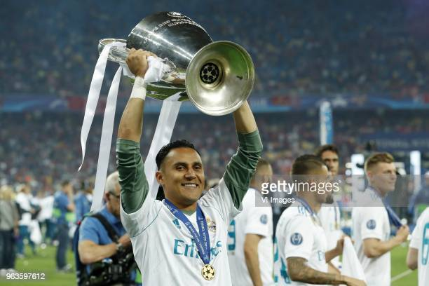 Goalkeeper Keylor Navas of Real Madrid with UEFA Champions League trophy, Coupe des clubs Champions Europeens during the UEFA Champions League final...