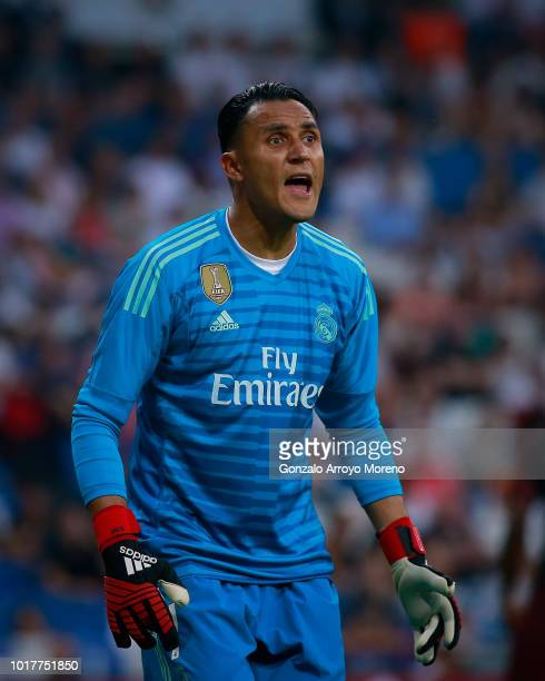 Goalkeeper Keylor Navas reacts during the Santiago Bernabeu Trophy between Real Madrid CF and AC Milan at Estadio Santiago Bernabeu on August 11 2018...