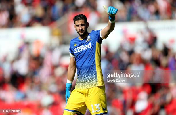 Goalkeeper Kiko Casilla of Leeds United acknowledges the fans during the Sky Bet Championship match between Stoke City and Leeds United at Bet365...