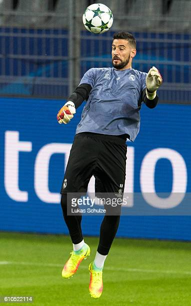 Goalkeeper Kiko Casilla of Madrid is in action during the training session at Signal Iduna Park on September 26 2016 in Dortmund Germany
