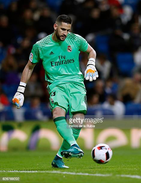Goalkeeper Kiko Casilla of Real Madrid in action during the Copa del Rey round of 32 second leg match between Real Madrid CF and Cultural y Deportiva...