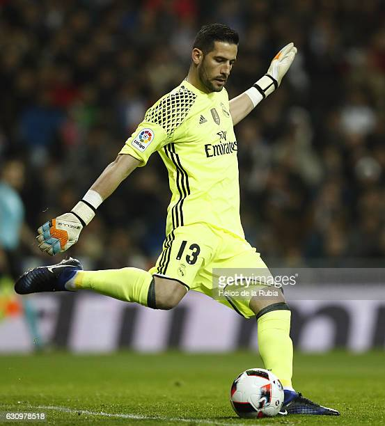 Goalkeeper Kiko Casilla of Real Madrid in action during the Copa del Rey round of 16 first leg match between Real Madrid CF and Sevilla at Estadio...