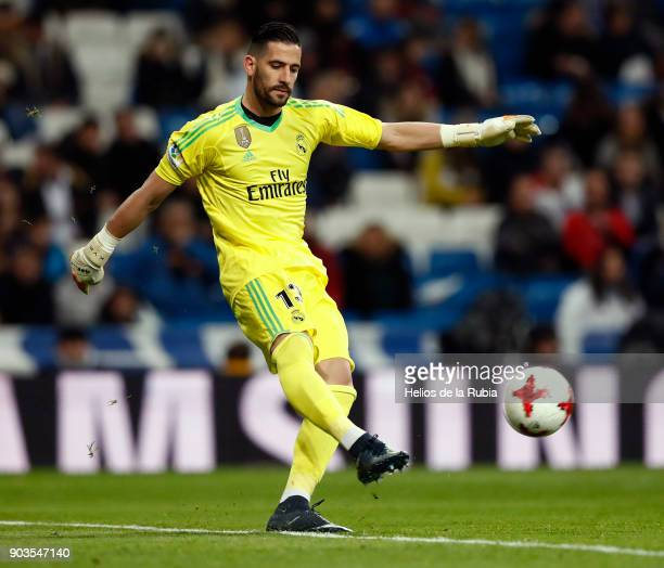 Goalkeeper Kiko Casilla of Real Madrid in action during the Copa del Rey round of 16 second leg match between Real Madrid CF and Numancia at Estadio...
