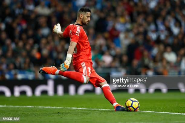 GoalKeeper Kiko Casilla of Real Madrid in action during the La Liga match between Real Madrid and Malaga at Estadio Santiago Bernabeu on November 25...