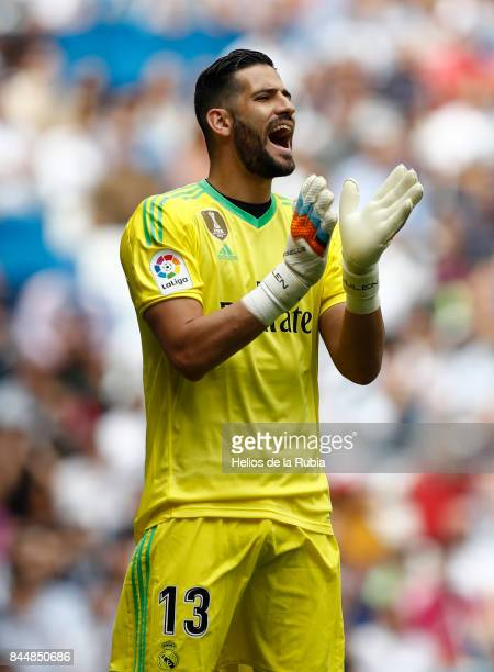 Goalkeeper Kiko Casilla of Real Madrid in action during the match La Liga Real Madrid and Levante at Estadio Santiago Bernabeu on September 9 2017 in...