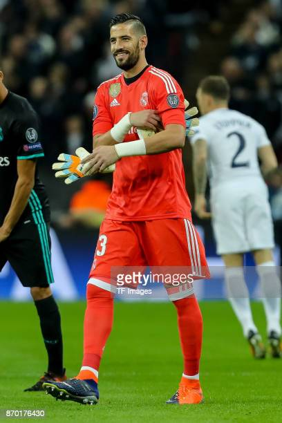 Goalkeeper Kiko Casilla of Real Madrid laughs during the UEFA Champions League group H match between Tottenham Hotspur and Real Madrid at Wembley...