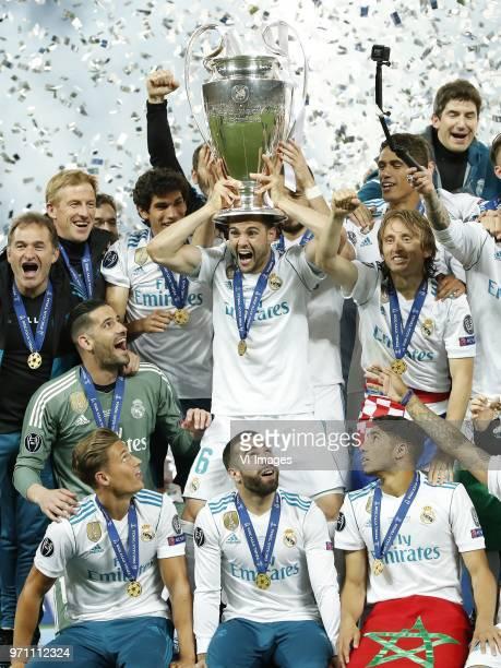 goalkeeper Kiko Casilla of Real Madrid Marcos Llorente of Real Madrid Jesus Vallejo of Real Madrid Nacho of Real Madrid with UEFA Champions League...