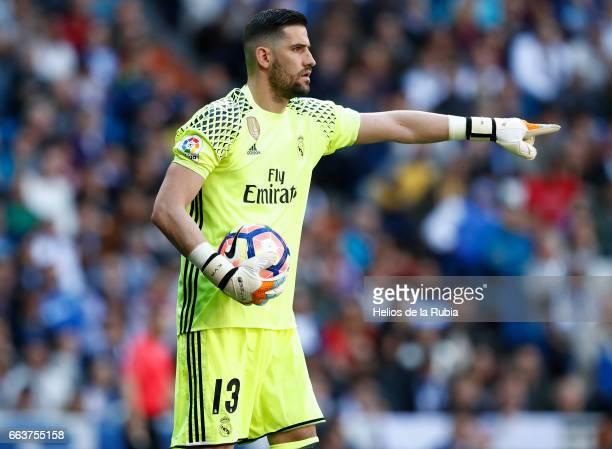 Goalkeeper Kiko Casilla of Real Madrid reacts during the La Liga match between Real Madrid and Real Betis Balompie at Estadio Santiago Bernabeu on...