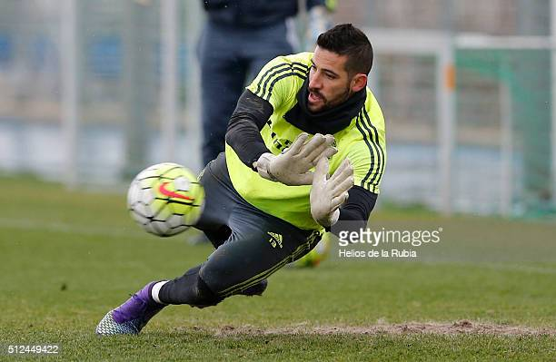 Goalkeeper Kiko Casilla of Real Madrid warms up during a training session at Valdebebas training ground on February 26 2016 in Madrid Spain