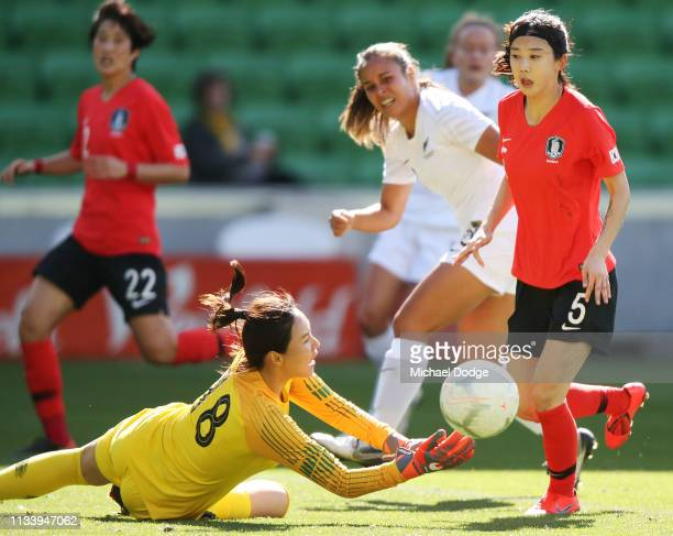 Goalkeeper Kim Jungmi of Korea Republic makes a save during the Cup of Nations match between the Korea Republic and New Zealand at AAMI Park on March...