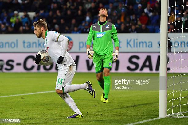 Goalkeeper Koen Casteels of Hoffenheim reacts after Aaron Hunt of Bremen scored his team's first goal with a penalty during the Bundesliga match...