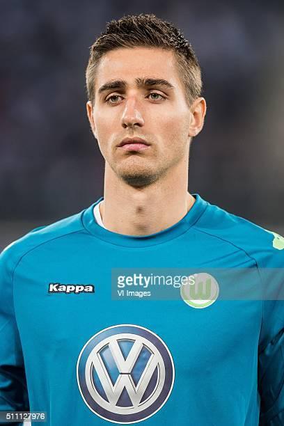 goalkeeper Koen Casteels of VFL Wolfsburg during the UEFA Europa League round of 16 match between KAA Gent and VfL Wolfsburg on February 17 2016 at...
