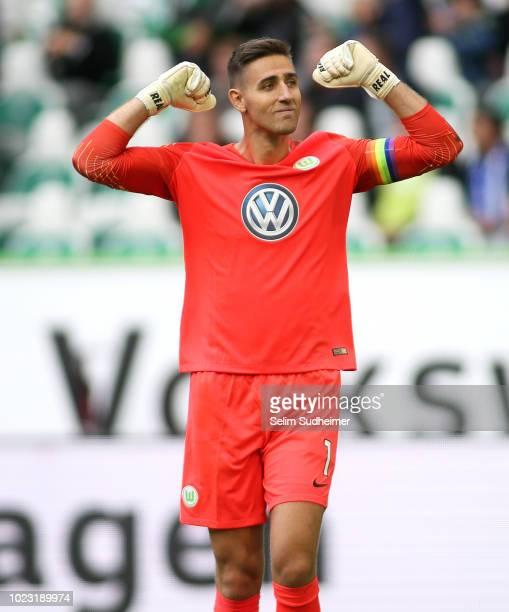 Goalkeeper Koen Casteels of Wolfsburg celebrate their teams second goal scoring during the Bundesliga match between VfL Wolfsburg and FC Schalke 04...