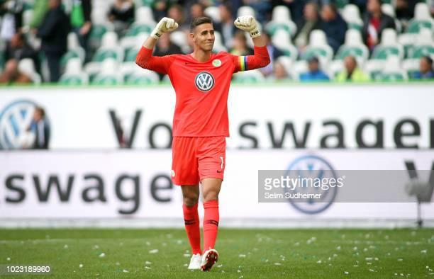 Goalkeeper Koen Casteels of Wolfsburg celebrates his teams second goal scoring during the Bundesliga match between VfL Wolfsburg and FC Schalke 04 at...