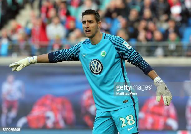 Goalkeeper Koen Casteels of Wolfsburg gestures during the Bundesliga match between RB Leipzig and VfL Wolfsburg at Red Bull Arena on March 11 2017 in...
