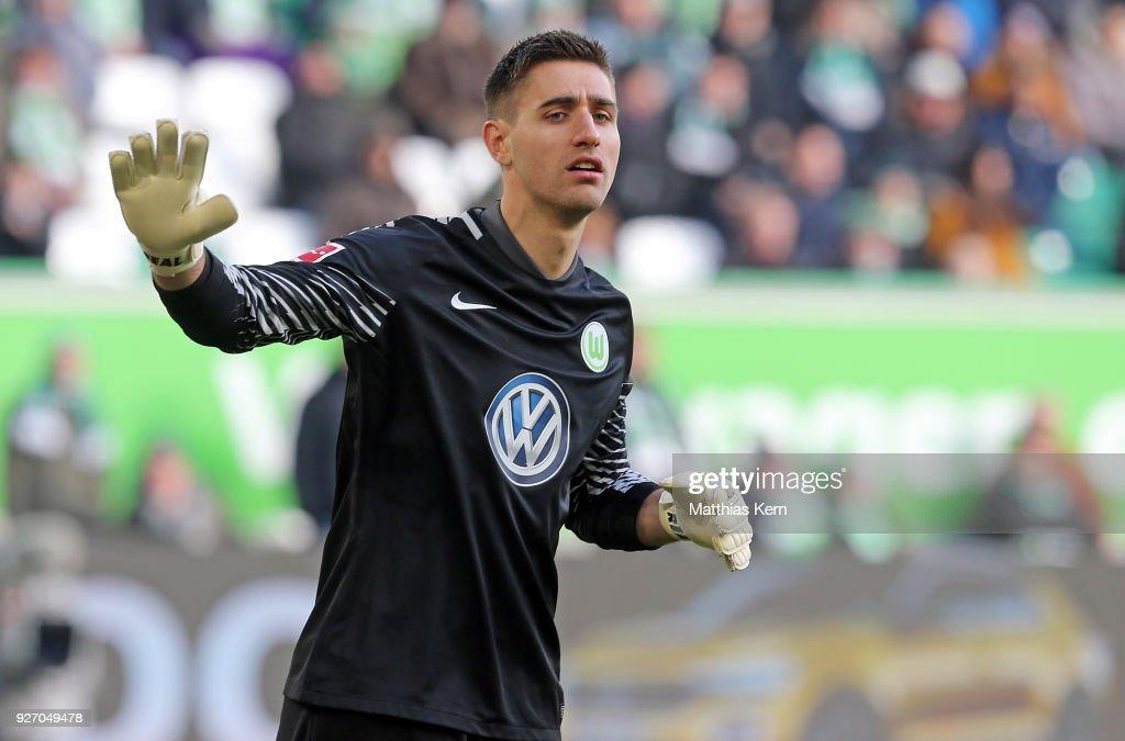 Goalkeeper Koen Casteels of Wolfsburg gestures during the Bundesliga match between VfL Wolfsburg and Bayer 04 Leverkusen at Volkswagen Arena on March 3, 2018 in Wolfsburg, Germany.