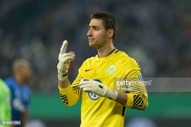 Goalkeeper Koen Casteels of Wolfsburg gestures during the DFB Cup match between FC Schalke 04 and VfL Wolfsburg at VeltinsArena on February 7 2018 in...