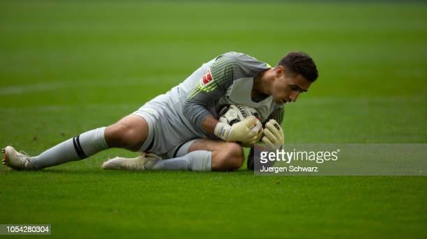 Goalkeeper Koen Casteels of Wolfsburg grabs the ball during the Bundesliga match between Fortuna Duesseldorf and VfL Wolfsburg at EspritArena on...