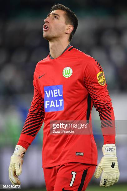 Goalkeeper Koen Casteels of Wolfsburg looks dejected following an own goal by his team during the Bundesliga match between VfL Wolfsburg and FC...