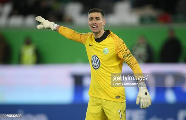 Goalkeeper Koen Casteels reacts during the Bundesliga match between VfL Wolfsburg and TSG 1899 Hoffenheim at Volkswagen Arena on December 8 2018 in...