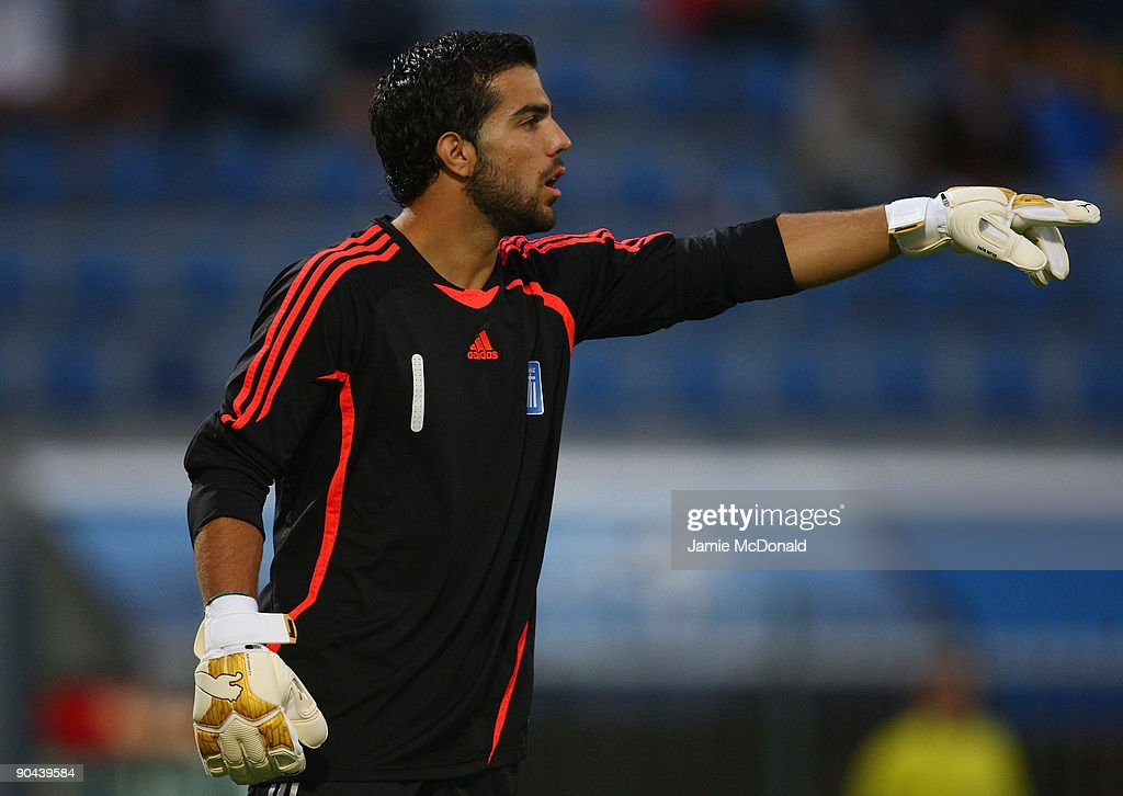 Goalkeeper Konstantinos Lamprou of Greece gives instructions during the UEFA U21 Championship match between Greece and England at the Asteras Tripolis Stadium on September 8, 2009 in Tripolis, Greece.
