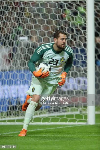 Goalkeeper Kristoffer Nordfeldt of Sweden during the International Friendly match between Sweden and Chile at Friends arena on March 24 2018 in Solna...