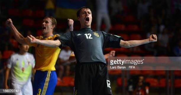 Goalkeeper Kyrylo Tsypun of Ukraine celebrates after winning the FIFA Futsal World Cup Round of 16 match between Ukraine and Japan at Indoor Stadium...