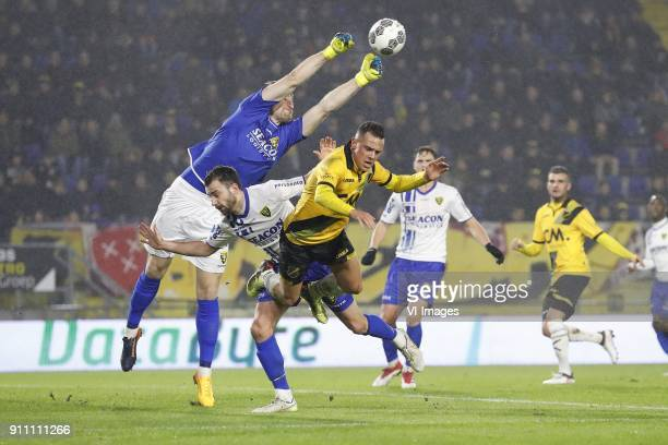 goalkeeper Lars Unnerstall of VVV Venlo Roel Janssen of VVV Venlo Giovanni Korte of NAC Breda during the Dutch Eredivisie match between NAC Breda and...