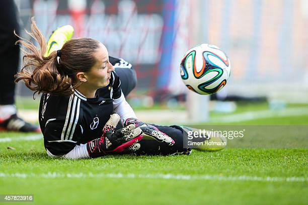 Goalkeeper Laura Benkarth makes a save during a Germany Women's Training Session on October 24 2014 in Offenbach Germany
