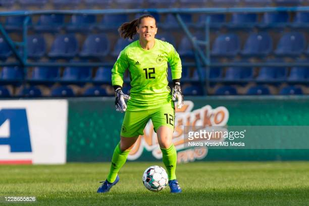 Goalkeeper Laura Benkarth of Germany breaks on the ball during the UEFA Women's EURO 2022 Qualifier match between Montenegro and Germany at Pod...