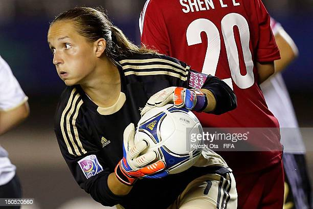 Goalkeeper Laura Benkarth of Germany catches the ball during the FIFA U20 Women's World Cup Japan 2012 Group D match between Germany and China at...