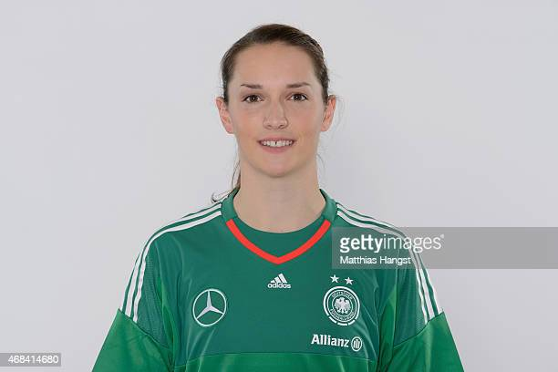 Goalkeeper Laura Benkarth of Germany poses for a portrait during the DFB Women's Marketing Day at the CommerzbankArena on January 14 2015 in...