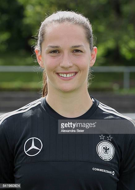 Goalkeeper Laura Benkarth of Germany's women football team smiles during the official team presentation on June 21 2016 in Grassau Germany