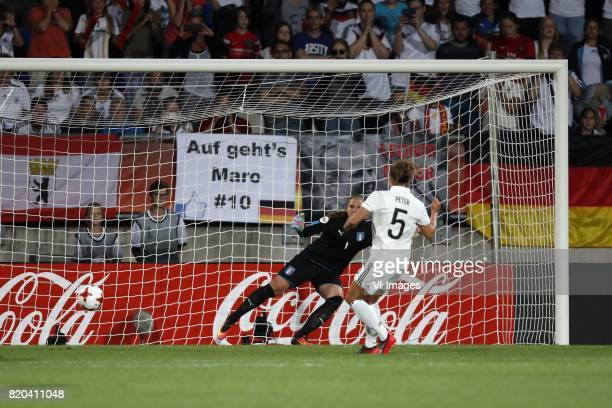 Goalkeeper Laura Giuliani of Italy Women, Babett Peter of Germany women 2-1 during the UEFA WEURO 2017 Group B group stage match between Germany and...