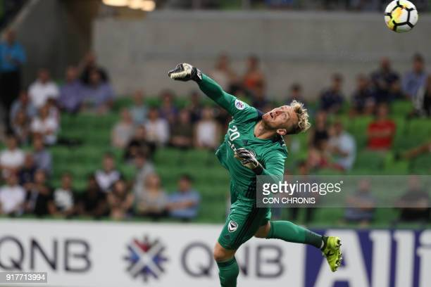 Goalkeeper Lawrence Thomas of Melbourne Victory concedes a goal following a shoot by Mislav Orsic of Ulsan Hyundai during their AFC Champions League...
