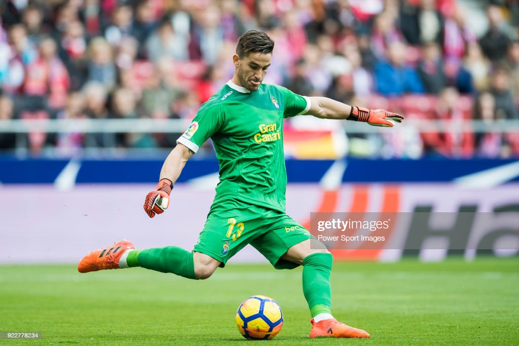 Goalkeeper Leandro Chichizola of UD Las Palmas in action during the La Liga 2017-18 match between Atletico de Madrid and UD Las Palmas at Wanda Metropolitano on January 28 2018 in Madrid, Spain.