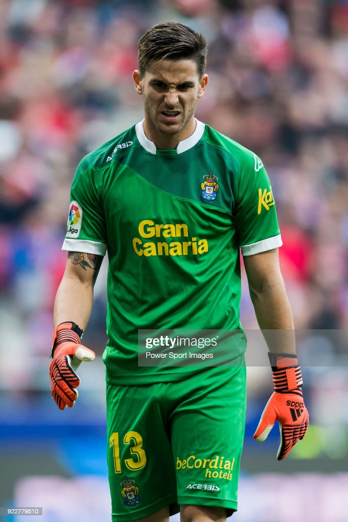 Goalkeeper Leandro Chichizola of UD Las Palmas reacts during the La Liga 2017-18 match between Atletico de Madrid and UD Las Palmas at Wanda Metropolitano on January 28 2018 in Madrid, Spain.