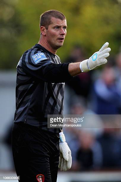 Goalkeeper Lee Harrison of Hayes Yeading speak to a team mate during the Hayes and Yeading United FC and Wycombe Wanderers FA Cup 1st Round Proper...