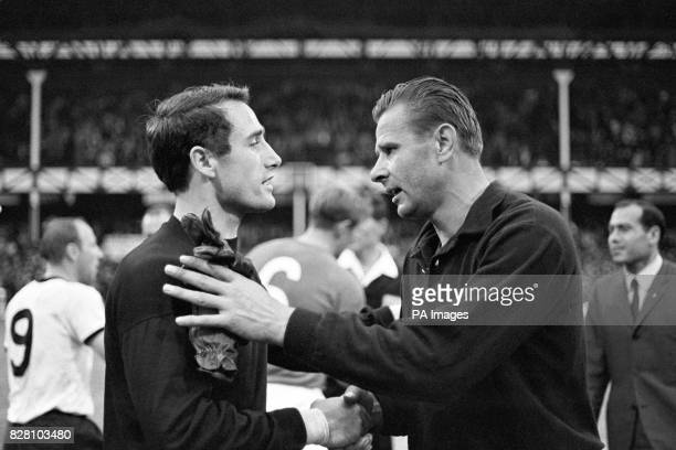 USSR goalkeeper Lev Yashin congratulates his counterpart West Germany's Hans Tilkowski on reaching the World Cup Final