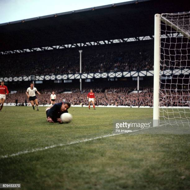 USSR goalkeeper Lev Yashin pushes a shot around the post