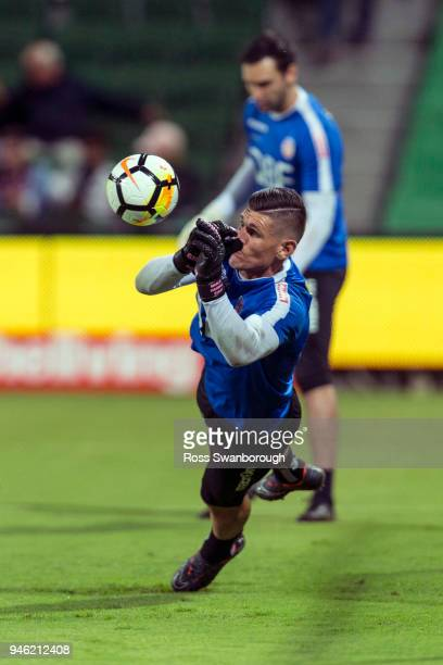 Goalkeeper Liam Reddy of the Glory during pre game warm up for Perth Glory at nib Stadium on April 14 2018 in Perth Australia