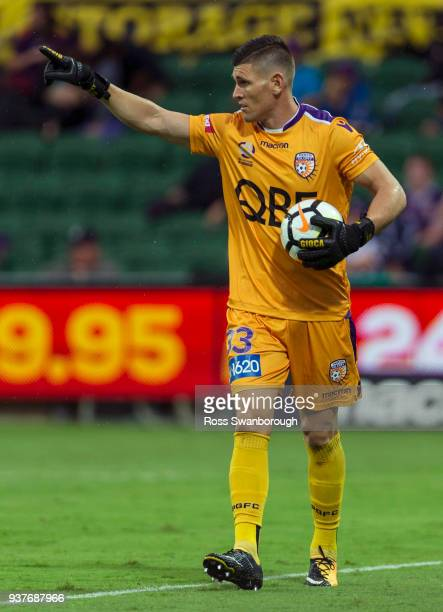 Goalkeeper Liam Reddy of the Glory gestures during the ALeague Rd 24 match between Perth and Melbourne Victory at nib Stadium on March 25 2018 in...