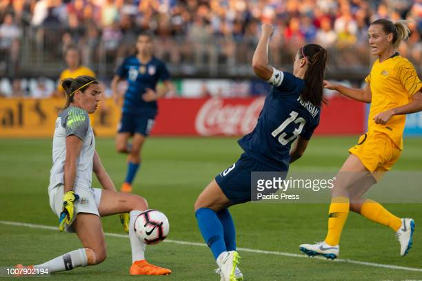 Goalkeeper Lidya Williams of Australia saves during Tournament of Nations game against USA at Pratt Whitney stadium Game ended in draw 1 1
